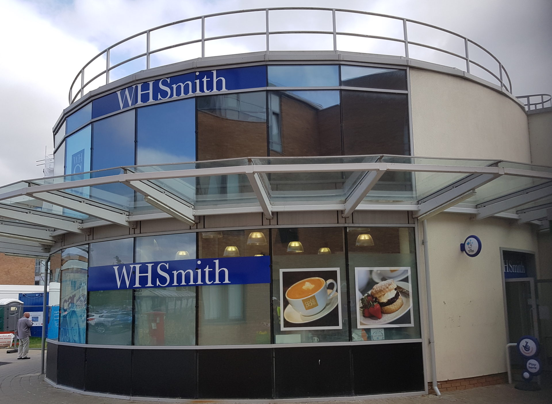 Shop front spraying WH Smith